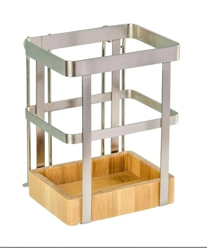 Suport argintiu/maro din nichel si lemn pentru ustensile Premium Utensil Holder Wenko