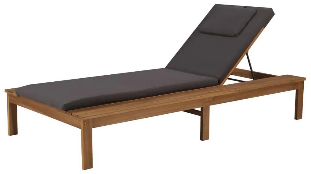 44254 vidaXL Șezlong de plajă cu saltea, lemn masiv de acacia