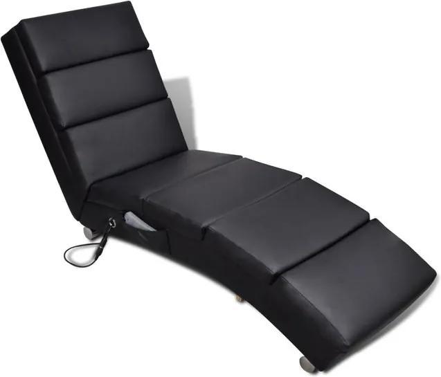 Șezlong de masaj, piele artificială, negru
