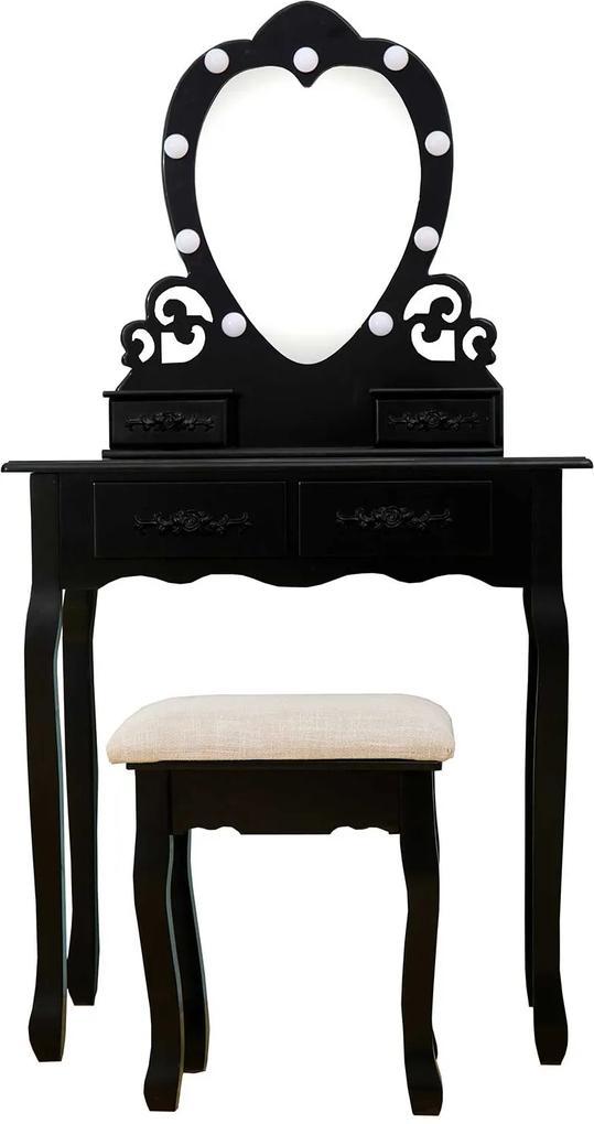 Set Ilona, Masă de toaletă cu oglindă iluminată LED, control touch, 4 sertare, scaun, Negru