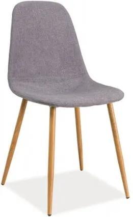 Scaun tapitat cu stofa, cu picioare metalice Fox Grey / Oak, l44xA39xH86 cm