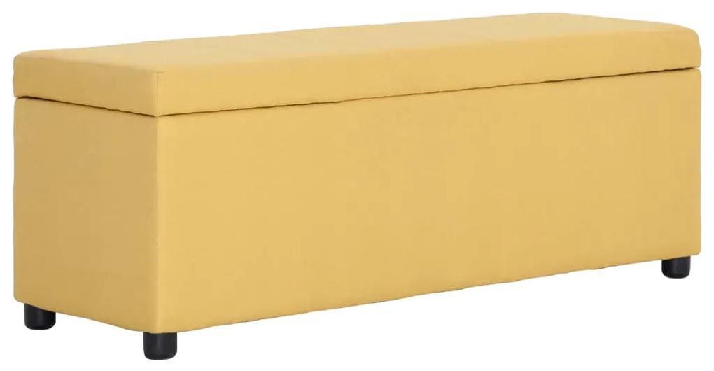 281324 vidaXL Bancă cu compartiment de depozitare, galben, 116 cm, poliester