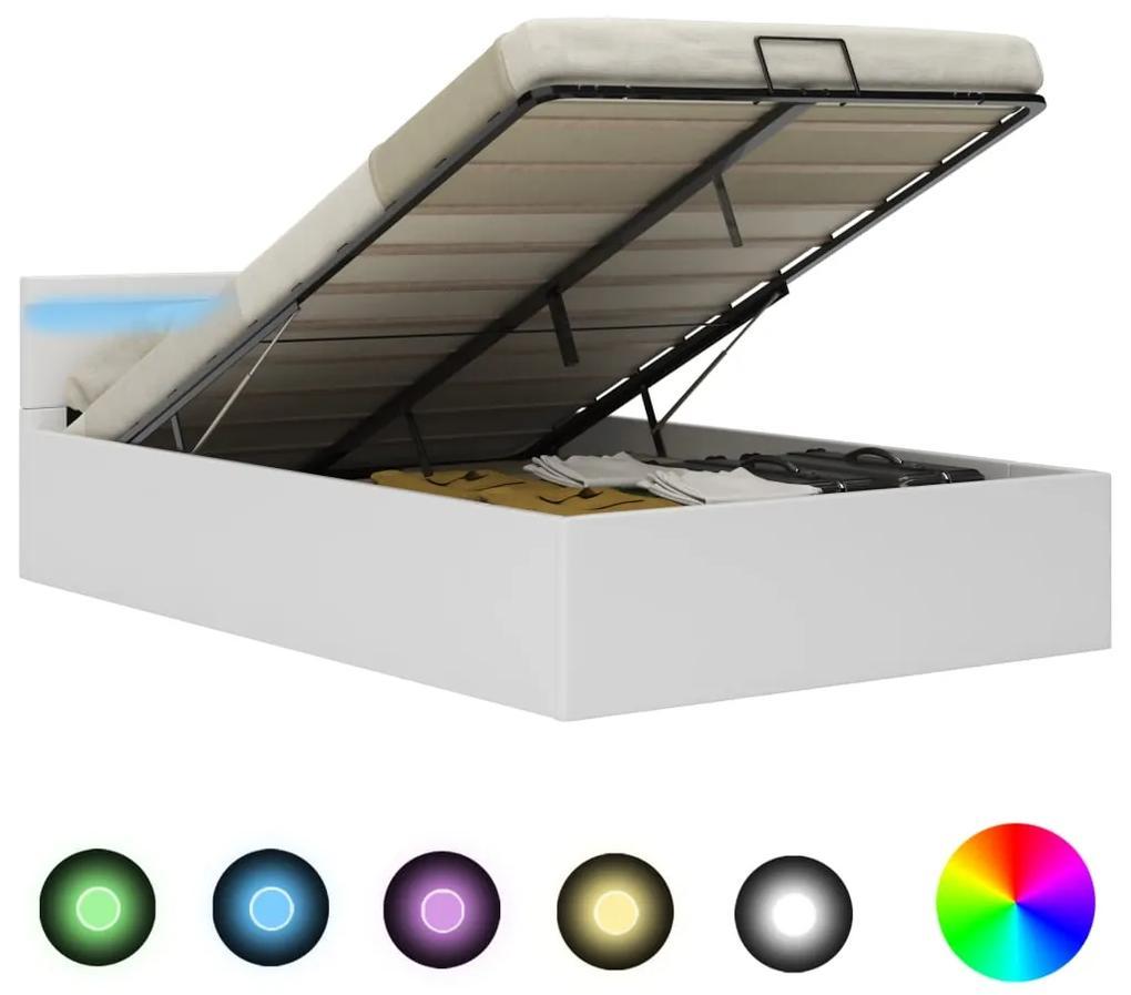 285549 vidaXL Cadru pat hidraulic ladă cu LED alb 140x200 cm piele ecologică