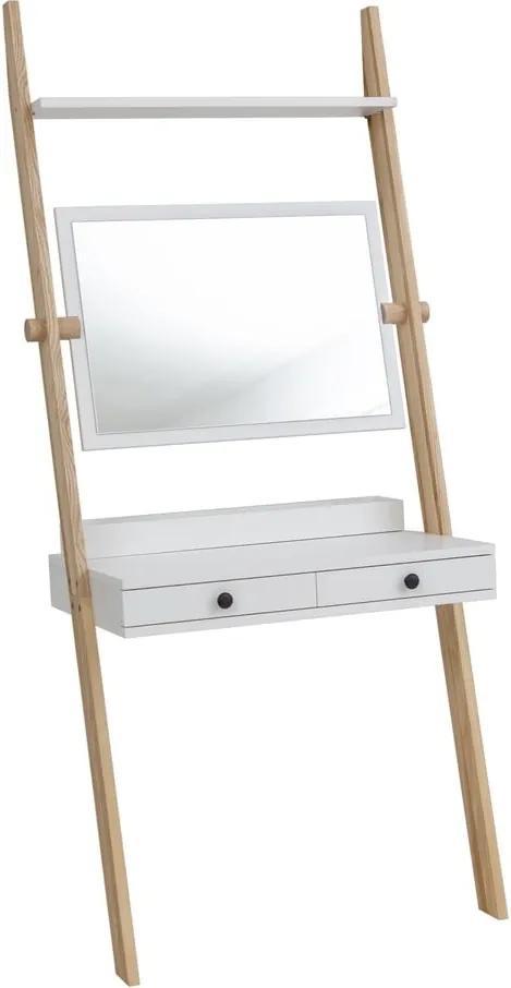 Suport cu sertar și oglindă Ragaba Leno, alb