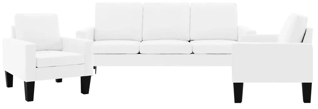 3056684 vidaXL Set canapea, 3 piese, alb, piele ecologică