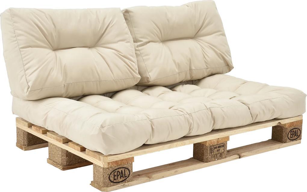 [en.casa]® Set Louisa perne interior Model A - canapea paleti -  1x perna sezut + 2x perne spate - bej