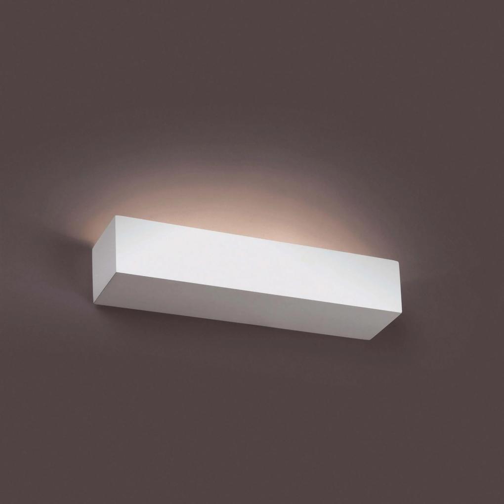 Eaco 353 - Aplică albă rectangulară din ghips cu 2 surse de lumină