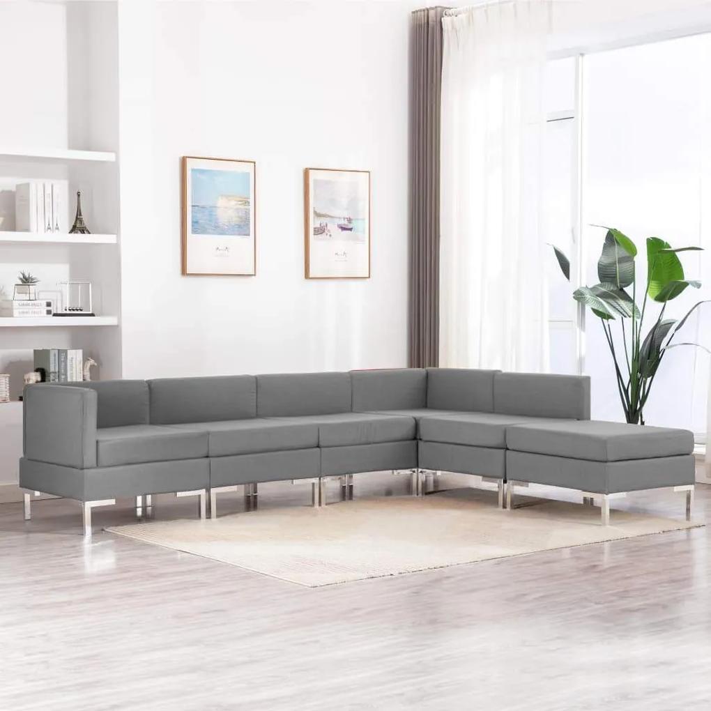 Set de canapele, 6 piese, gri deschis, material textil