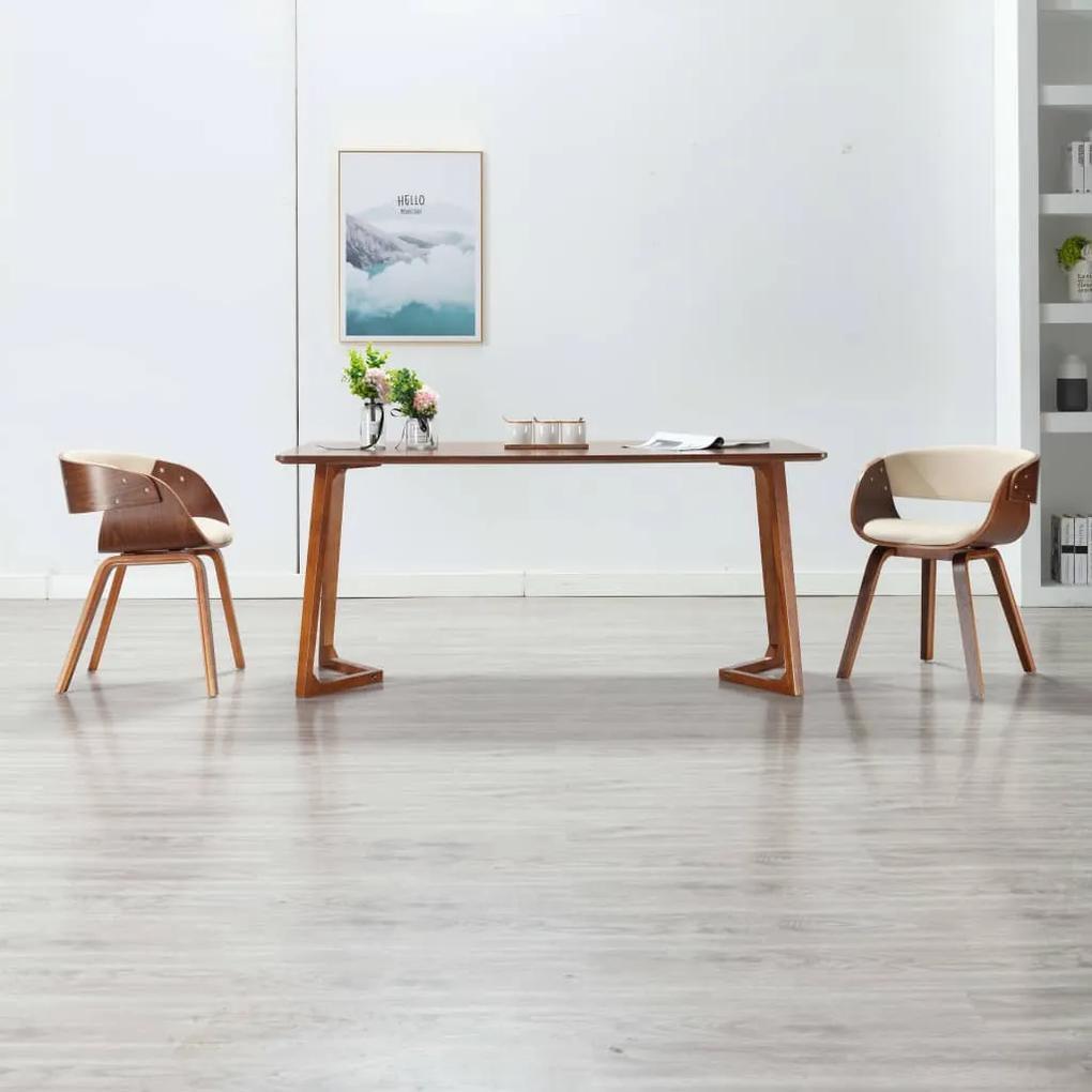 283110 vidaXL Scaun de bucătărie, crem, lemn curbat și piele ecologică