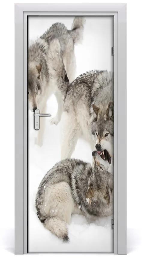 Autocolante pentru usi lupi perete Gray