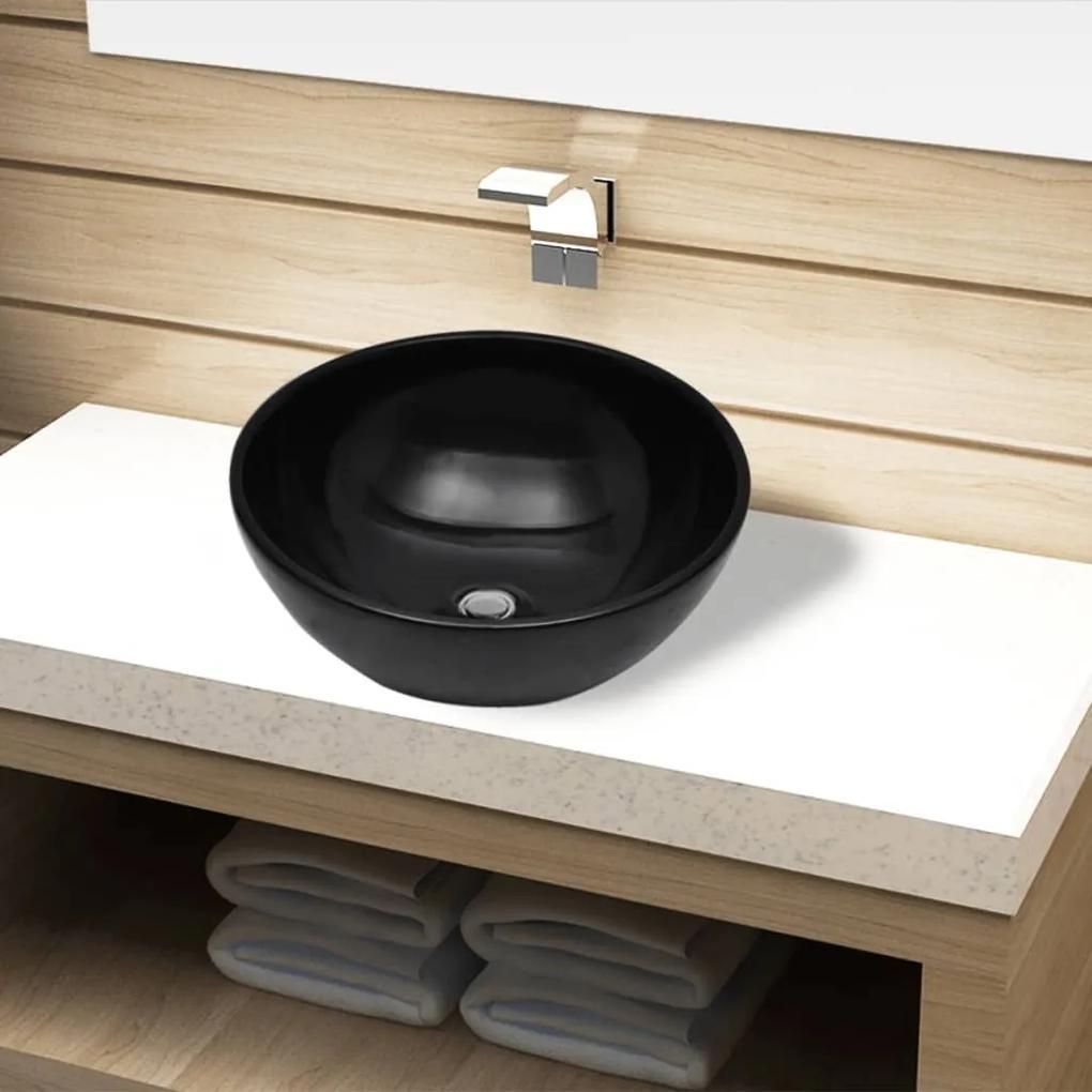 141929 vidaXL Chiuvetă ceramică pentru baie, rotundă, neagră