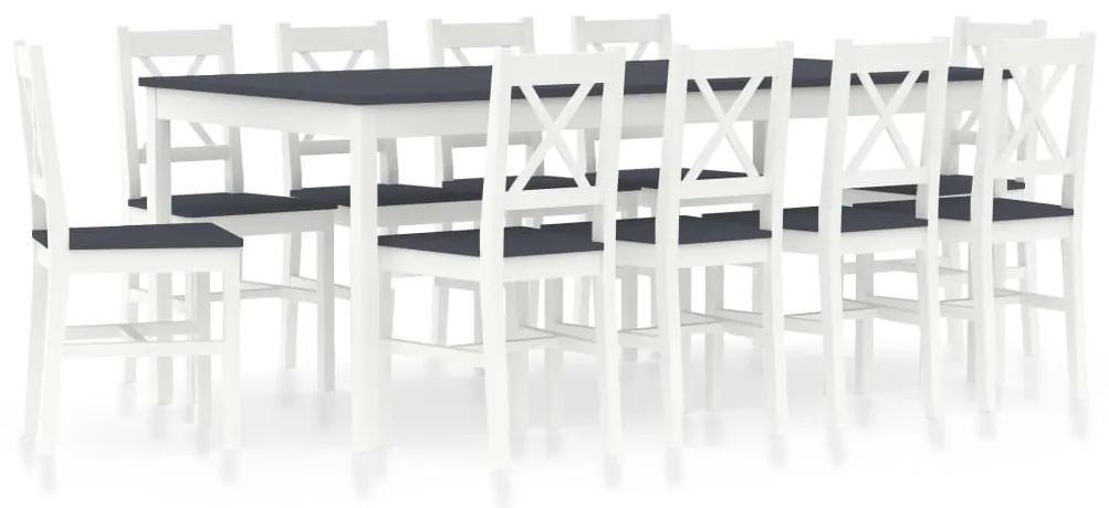 283394 vidaXL Set mobilier de bucătărie, 11 piese, alb și gri, lemn de pin