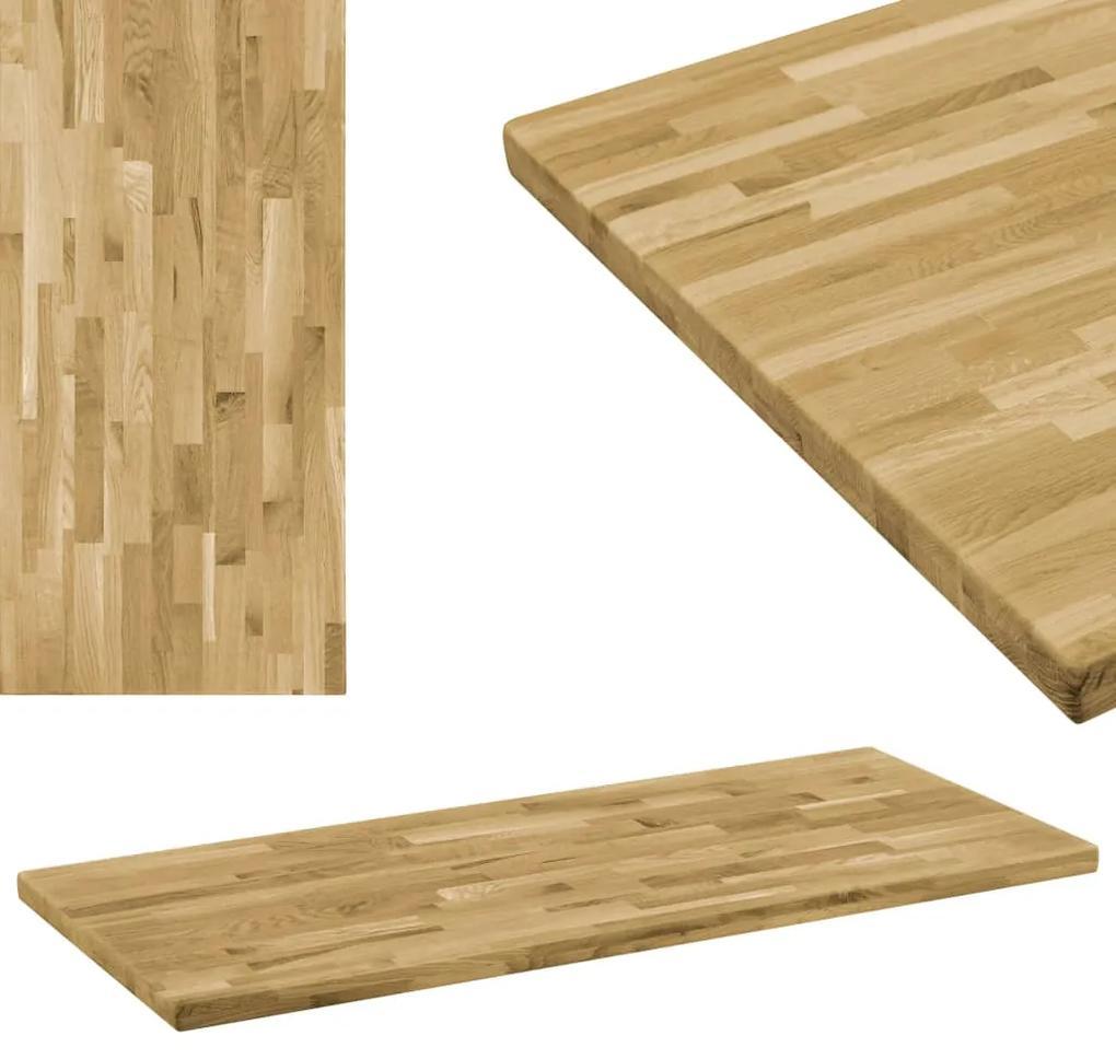 246001 vidaXL Blat masă, lemn masiv de stejar, dreptunghiular, 44mm 120x60cm