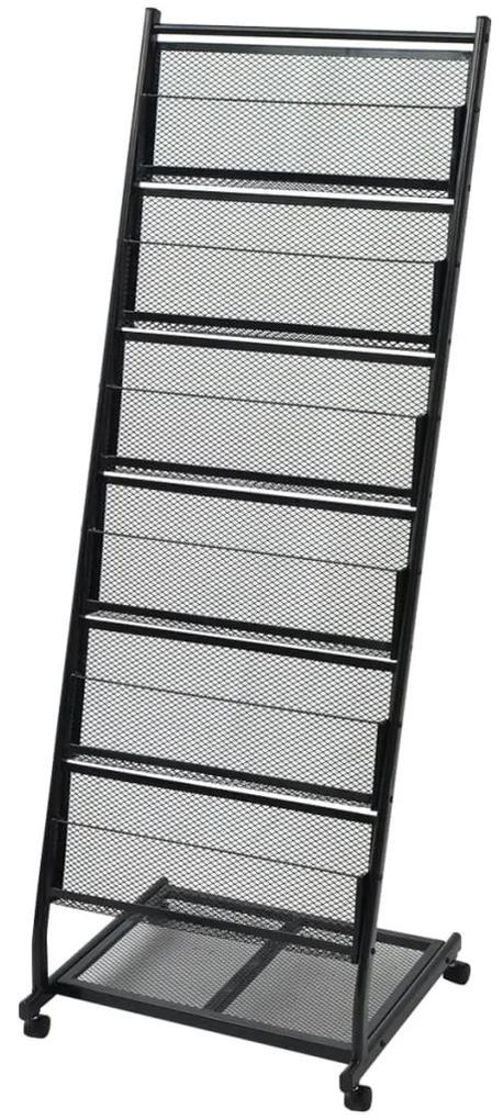 30100 vidaXL Raft reviste A4, 47,5x43x133 cm, negru