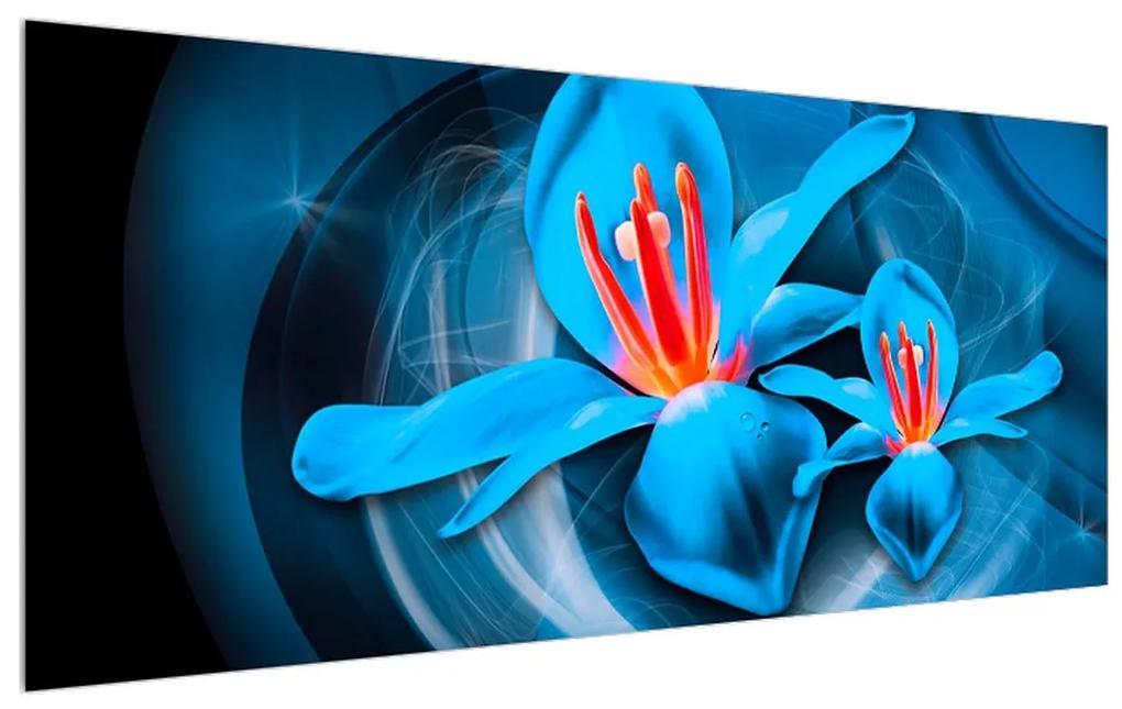 Tablou modern albastru cu flori (K013575K12050)