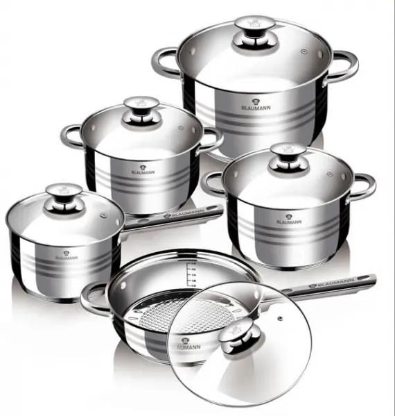Set oale si tigai otel inoxidabil (10 piese) Jumbo Gourmet Line Blaumann BL 1637