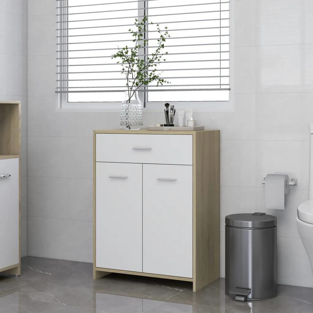 805029 vidaXL Dulap de baie, alb și stejar Sonoma, 60x33x80 cm, PAL
