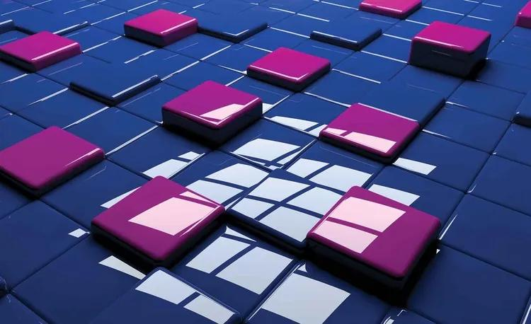 Modern Abstract Squares Blue Purple Fototapet, (104 x 70.5 cm)
