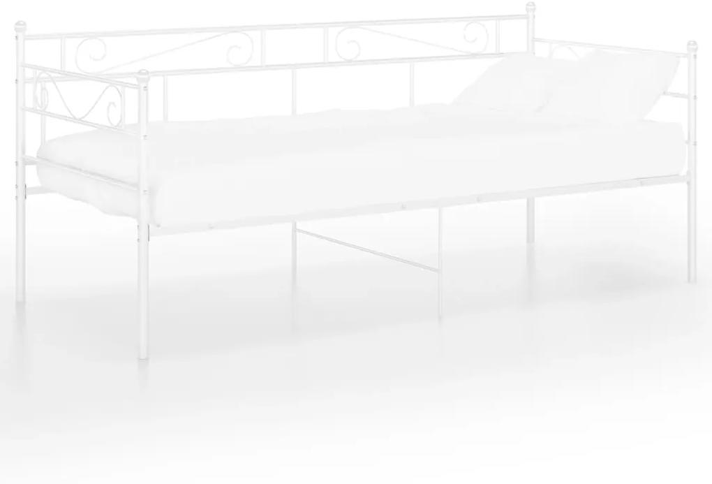 324768 vidaXL Cadru pat canapea, alb, 90x200 cm, metal