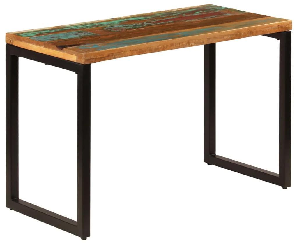247332 vidaXL Masă de bucătărie, 115x55x76 cm, lemn masiv reciclat și oțel