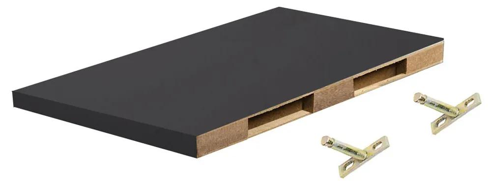 Polita perete cu suport fixare ascuns, 30x19x1.8 cm, Negru