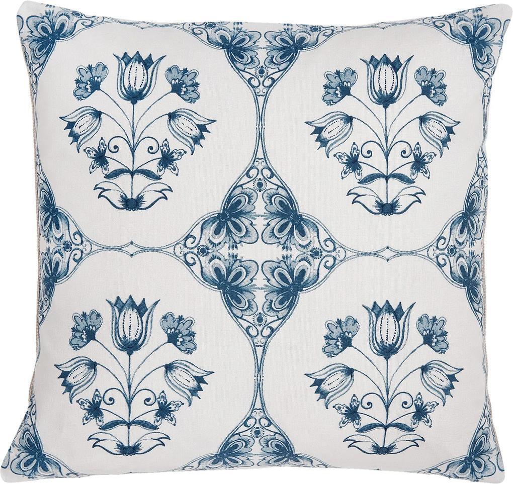 Fata de perna bumbac alb albastru Royal 40*40 cm