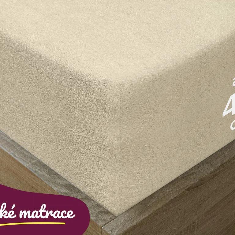 Goldea cearceafuri de pat din terry pentru saltele înalte - bej 90 x 200 cm