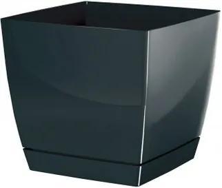 Înveliş de ghiveci Coubi Square, cu vas, grafit, 13,5 cm, 13,5 cm
