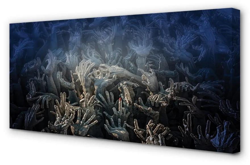 Tablouri canvas Tablouri canvas Mâinile de lumină albastră