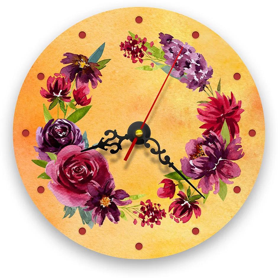 Ceas de perete - Bujori retro 21 cm, lemn