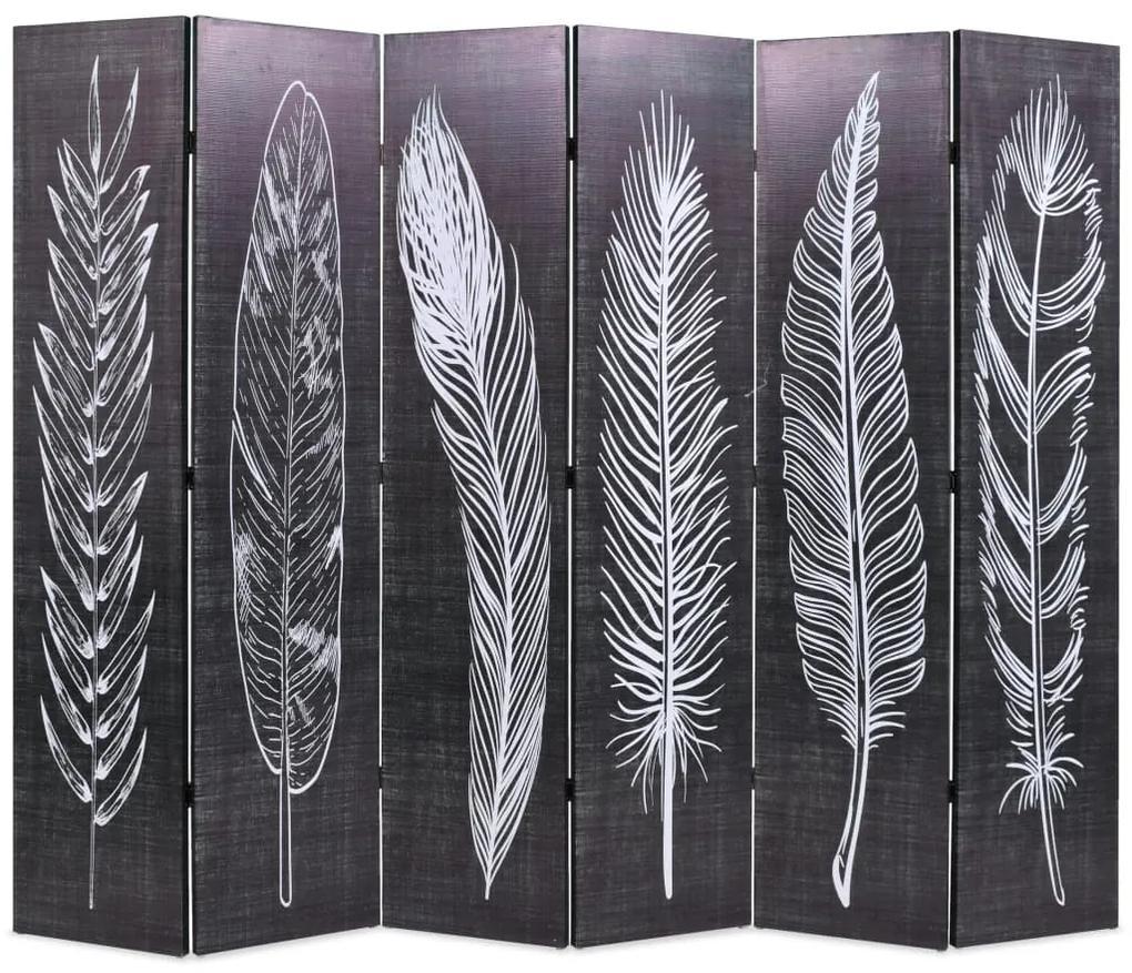 245892 vidaXL Paravan cameră pliabil, negru&alb, 228 x 170 cm, imprimeu pene
