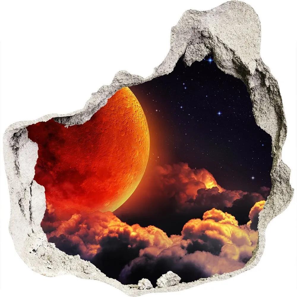 Autocolant 3D gaura cu priveliște Eclipsa de Luna