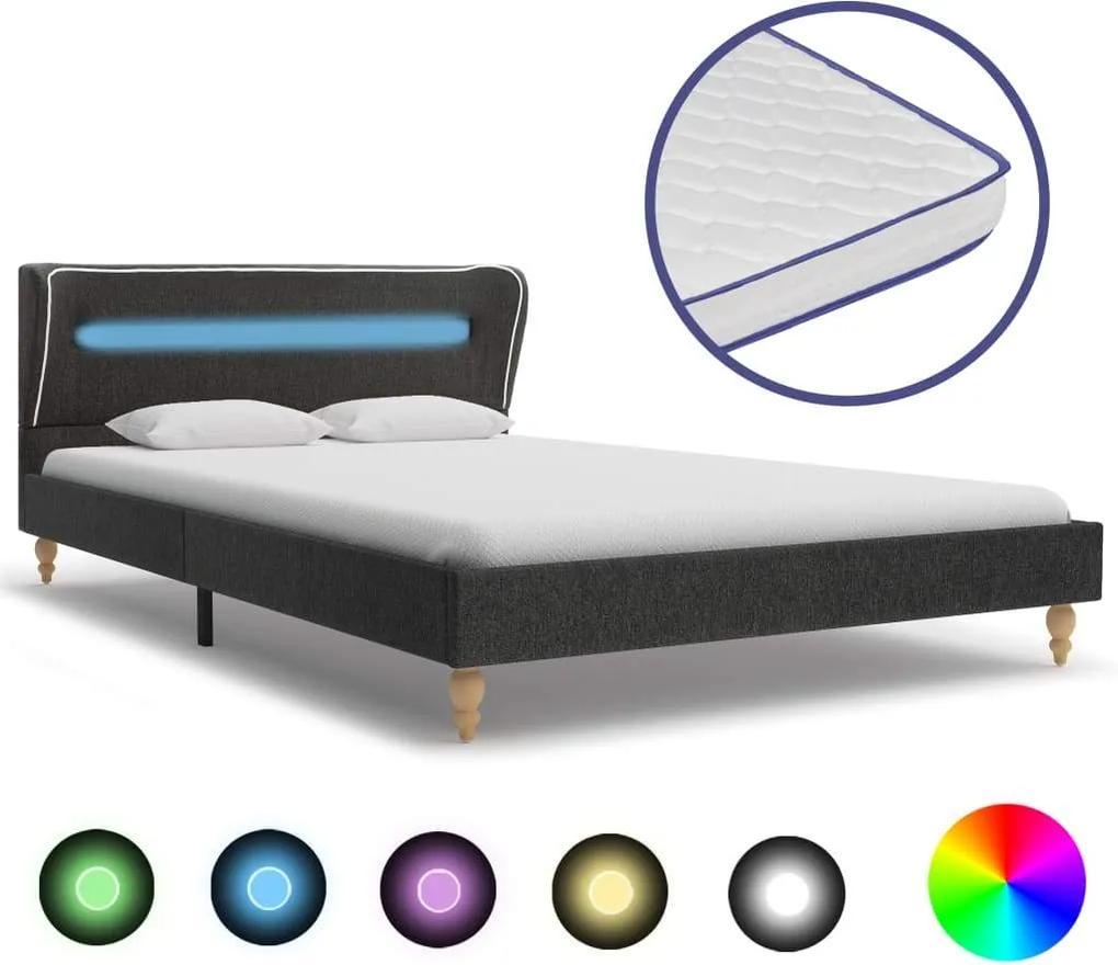 Pat LED saltea spuma memorie, gri inchis, 90x200 cm, panza sac