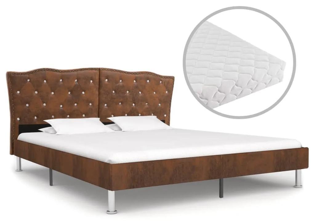 277198 vidaXL Pat cu saltea, maro, 180 x 200 cm, material textil