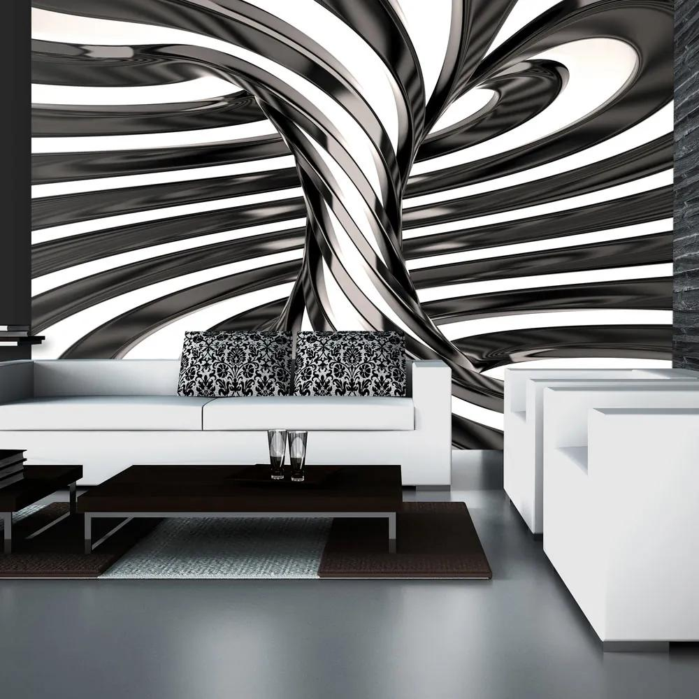 Bimago Fototapet - Black and white swirl II 400x280 cm