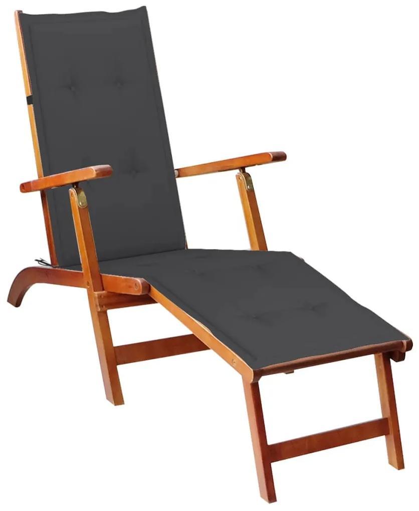 3064014 vidaXL Șezlong exterior, suport picioare și pernă, lemn masiv acacia