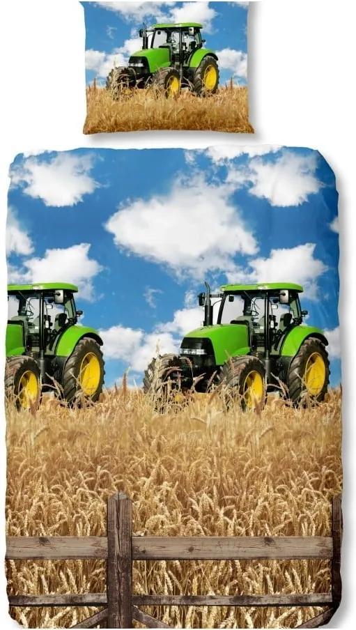 Lenjerie de pat din bumbac pentru copii Good Morning Farmer, 140 x 200 cm