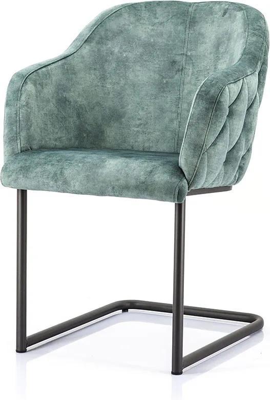 Scaun din catifea Paulette verde