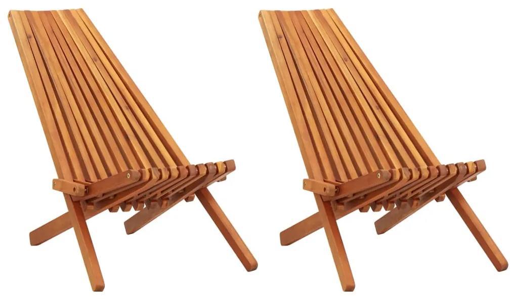 45975 vidaXL Șezlonguri de exterior pliabile, 2 buc., lemn masiv de acacia