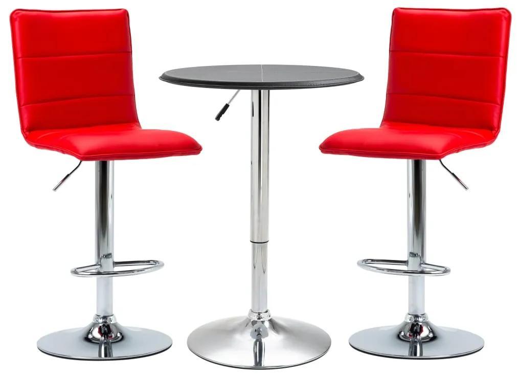 279619 vidaXL Set mobilier de bar, 3 piese, negru, piele ecologică