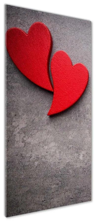 Tablou Printat Pe Sticlă Inimi roșii