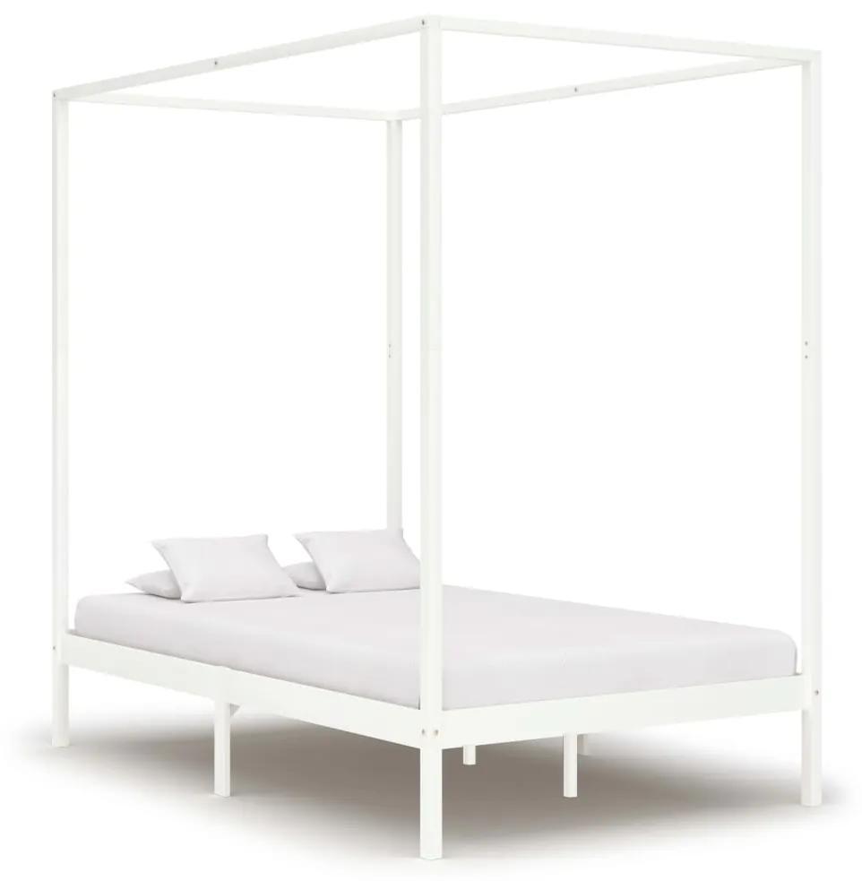 283265 vidaXL Cadru pat cu baldachin, alb, 140 x 200 cm, lemn masiv de pin