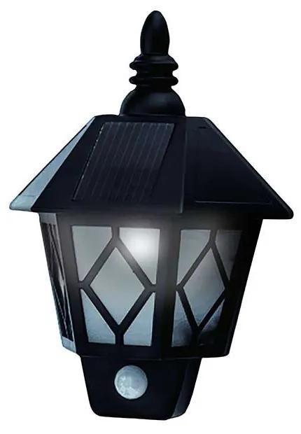 APLICA SOLARA LED PENTRU TERASA/GRADINA, SENZOR DE MISCARE, 20X10X28 CM, MONTAJ PERETE, FELINAR NEGRU, PLASTIC