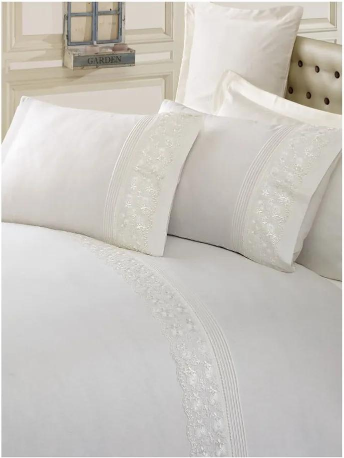 Lenjerie de pat din bumbac cu cearșaf și fețe de pernă Sincero, 200 x 220 cm