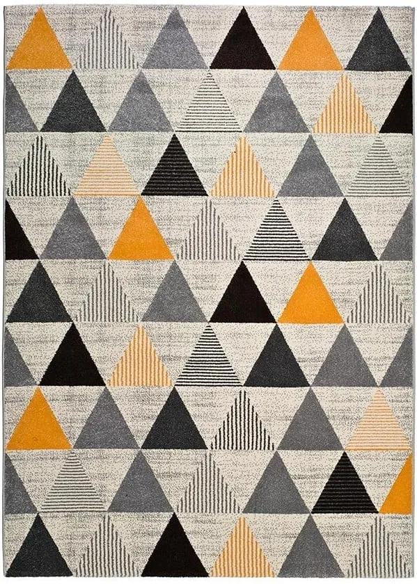 Covor gri Universal Leo Triangles, 140 x 200 cm, gri-portocaliu