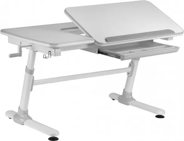 Masa de birou ergonomica, din plastic si metal, pentru copii Comfortline Alb / Gri, L119xl73xH56-80 cm