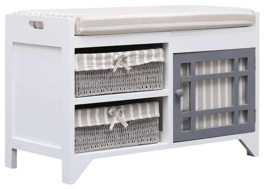 284080 vidaXL Bancă de hol, alb, 70x33,5x45 cm, lemn de paulownia