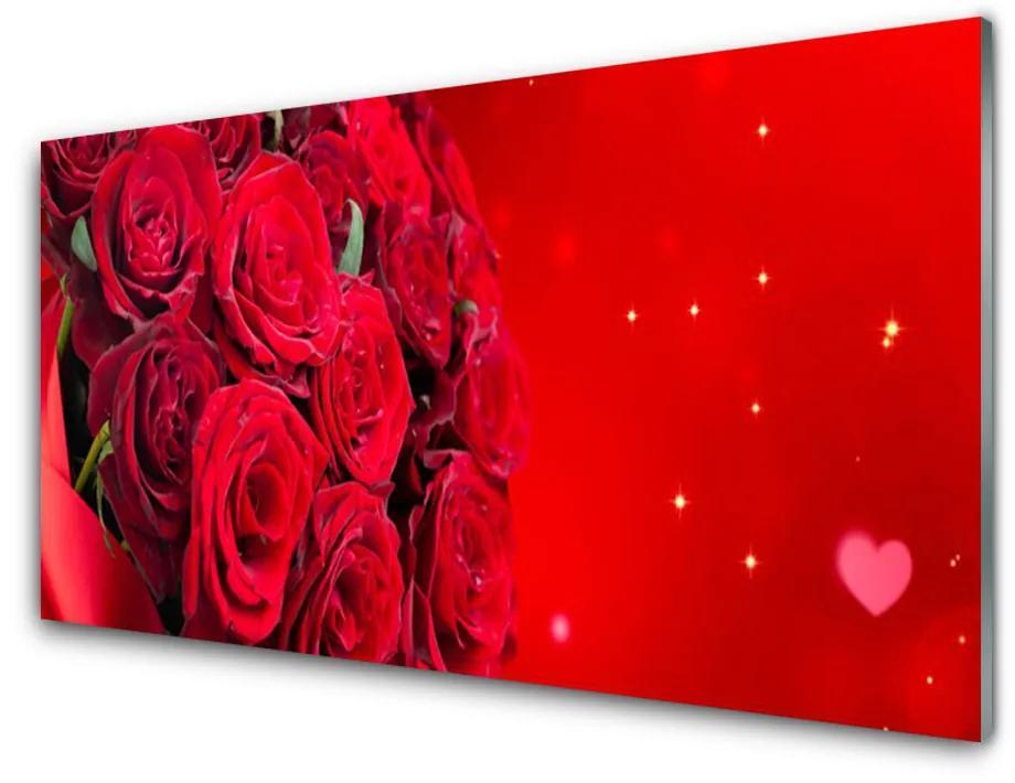 Tablou pe sticla Trandafiri Floral Red