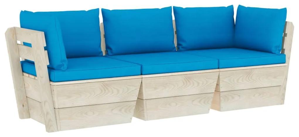 3063400 vidaXL Canapea de grădină din paleți, 3 locuri, cu perne, lemn molid