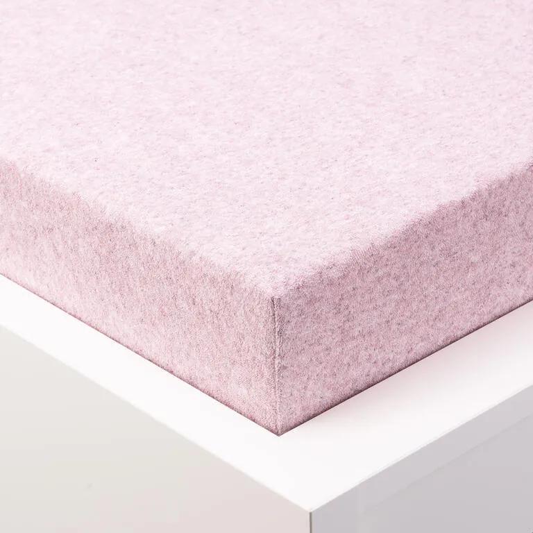Cearșaf elastic frotir MELÉ roz deschis pastel pat simplu